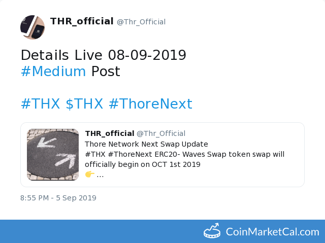 ThoreNext (THX) - ERC20-Waves Swap