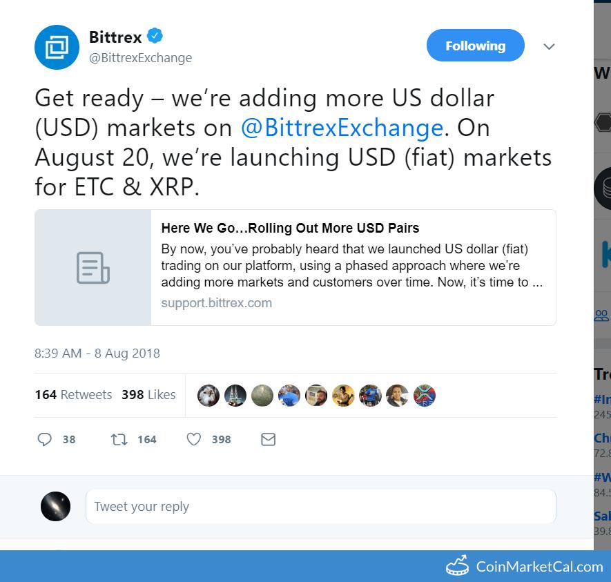 Ethereum Classic (ETC) - Bittrex ETC/USD Listing