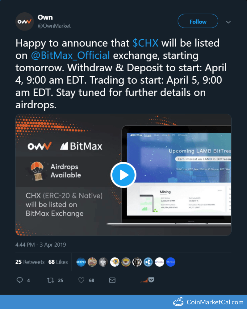 Own (CHX) - BitMax Listing